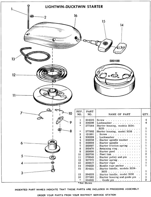 Evinrude Lightwin 3012 Parts Manual Page 1