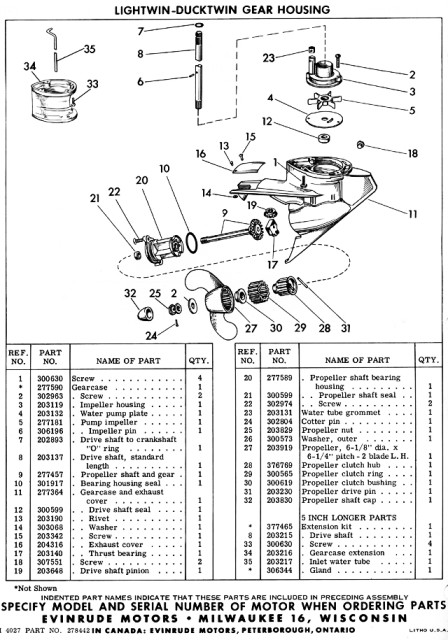 Evinrude Lightwin 3012 Parts Manual Page 3