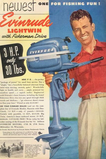 1950 je Evinrude Lightwin oglasov