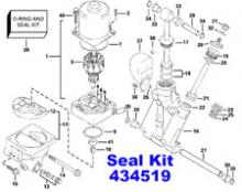434519 Johnson Evinrude OMC Trim & Tilt O-krúžok & Seal Rebuild Kit